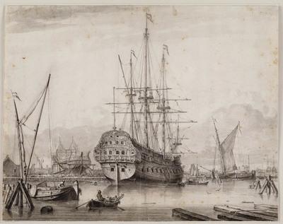 Een groot oorlogschip in een dok en andere schepen