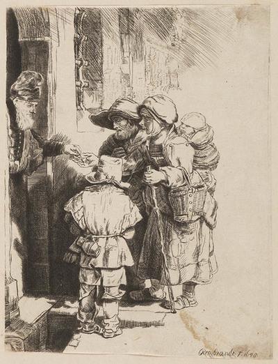 Image from object titled Bedelende familie ontvangt aalmoes aan een deur