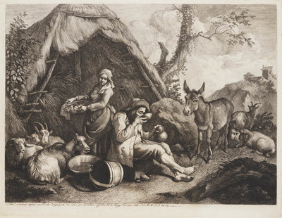 Rustende Herder en een boerin met een mandje eieren