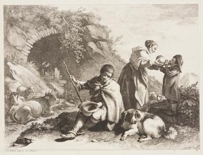 Zittende jonge herder