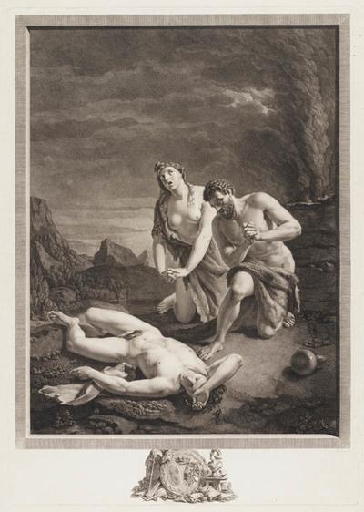 Adam en Eva bewenen de dood van Abel