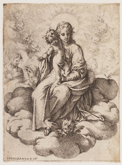 Madonna met kind op de wolken