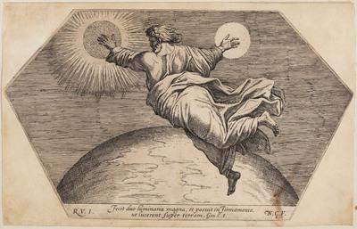 God schept zon, maan en sterren