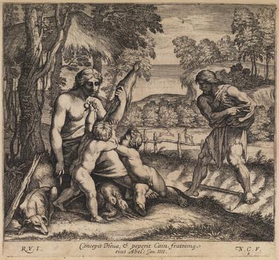 Adam en Eva met hun kinderen Kaïn en Abel