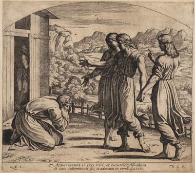 God verschijnt aan Abraham in de vorm van drie mannen