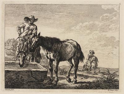 Ruiter laat twee paarden drinken bij een waterbak (Book of Horses)