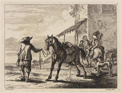 Pissend paard bij herberg (Book of Horses)