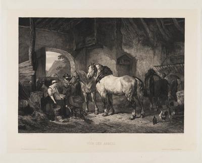 Voor den arbeid (paarden in een stal)