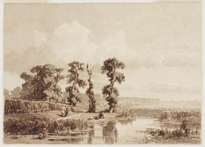 Landschap met drie figuren bij een wateroever