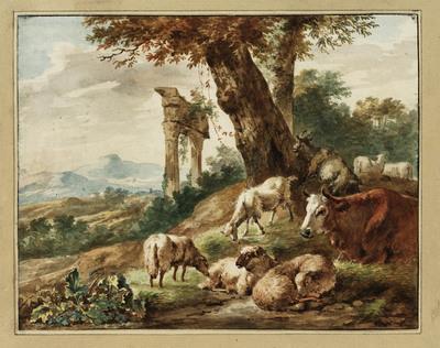 Italiaans landschap met vee