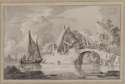 Rivierlandschap met brug