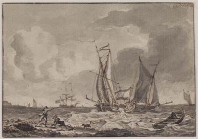 Image from object titled Zeilschepen op een onstuimige zee
