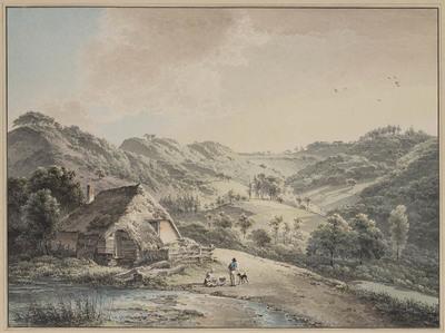 Berglandschap met boerderijtje aan een beek