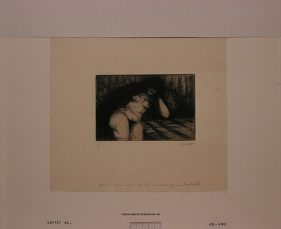 Femme nue aux longs cheveux noirs (épreuve b)