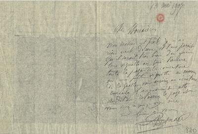 Lettre d'Albert Besnard, 15 mai 1907; Lettre autographe signée d'Albert Besnard, datée du 15 mai 1907, avec croquis au lavis