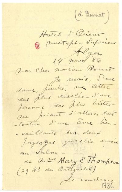 Lettre de Frederick Arthur Bridgman à Léon Bonnat, 14 mars 1886; Lettre autographe signée de Frederick Arthur Bridgman, illustrée d'un croquis, datée du 14 mars 1886, adressée à Léon Bonnat