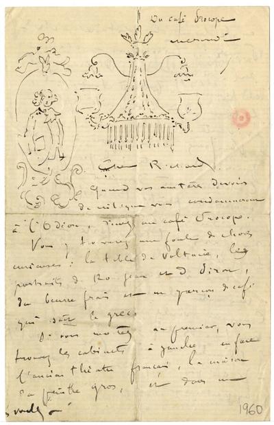 Lettre de Félix Buhot à Richard (?); Lettre autographe signée de Félix Buhot, non datée, illustrée de trois croquis à la plume réalisé au Café Procope (lustre, médaillon, autoportrait), adressée à Richard (?)