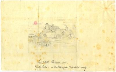 Croquis de Félix Buhot : Les Petites Chaumières; Croquis au crayon sur papier de soie de Félix Buhot reprenant une estampe originale datée de 1878  : Les Petites Chaumières