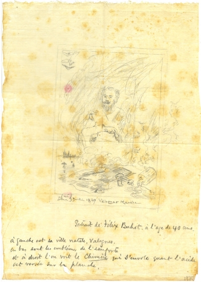 Croquis de Félix Buhot : Autoportrait de l'artiste à l'âge de 40 ans; Croquis au crayon sur papier de soie de Félix Buhot : Autoportrait de l'artiste à l'âge de 40 ans, devant lui les attributs du peintre et du graveur,...
