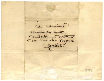 Lettre de François Marius Granet au comte de Forbin, 25 juin 1835; Lettre autographe signée de François Marius Granet, datée du 25 juin 1835, déclinant une invitation à dîner, adressée au comte de Forbin