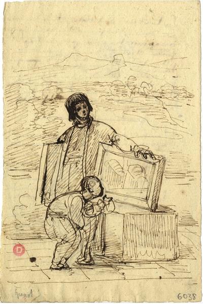 Croquis de François Marius Granet; Croquis à la plume de François Marius Granet représentant un artiste montrant ses toiles dans un paysage