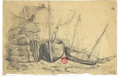 Croquis d'Eugène Isabey; Croquis à la mine de plomb  d'Eugène Isabey, non daté, représentant deux barques