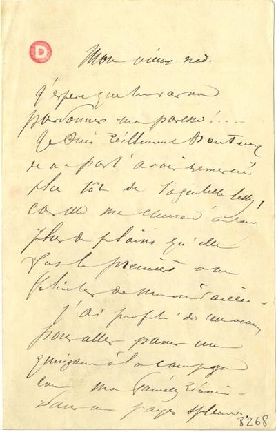 Lettre de Charles Léandre; Lettre autographe signée de Charles Léandre, non datée, illustrée d'un croquis à la plume signé et daté de 1883