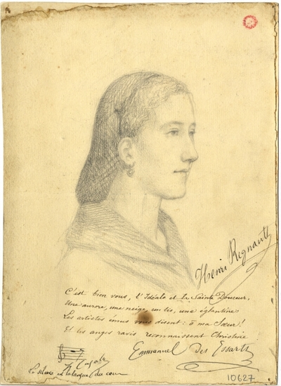Dessin de Henri Regnault; Dessin à la mine de plomb de Henri Regnault : portrait de Christine Sundberg