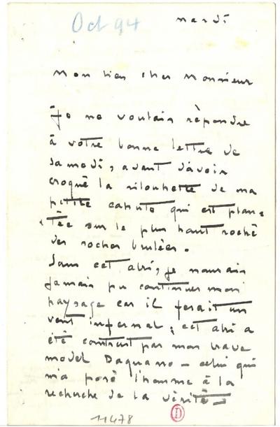 Lettre de Carlos Schwabe, [octobre 1894]; Lettre autographe signée de  Carlos Schwabe, datée du mois d'octobre 1894, illustrée d'un croquis au crayon représentant sa cahute