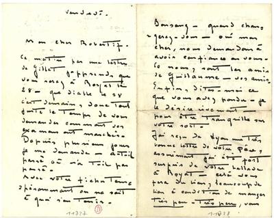 Lettre de  Carlos Schwabe à Robert Brussel; Lettre autographe signée de  Carlos Schwabe, non datée, adressée à Robert Brussel, illustrée d'un croquis à la mine de plomb