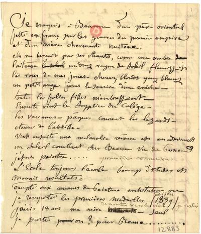 Manuscrit autobiographique  de Félix Ziem; Manuscrit biographique autographe signé de Félix Ziem, dédicacé à Arsène Houssaye le 5 janvier 1885