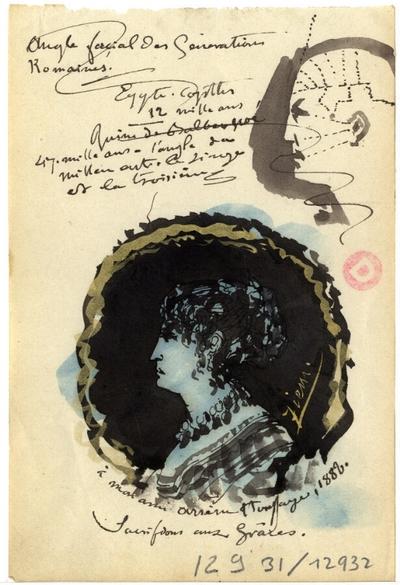 Note de Félix Ziem; Note autographe signée de Félix Ziem, non datée, illustrée de deux croquis de médaillons à la plume et lavis d'encre