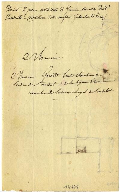 Lettre de Charles Percier à François Gérard; Lettre autographe signée de Charles Percier, non datée, adressée à François Gérard, illustrée d'un croquis à la plume