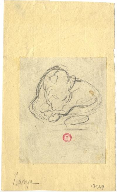 Croquis d'Antoine-Louis Barye; Croquis à la mine de plomb d'Antoine-Louis Barye représentant un lion, non daté