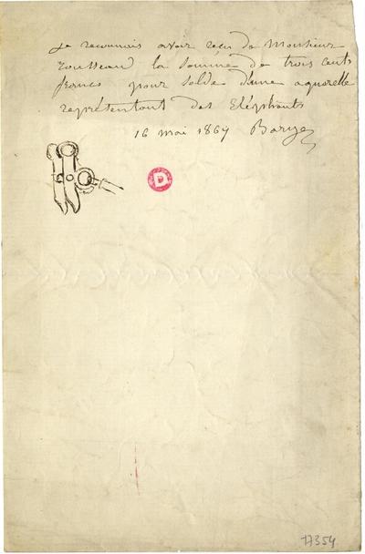 Reçu d'Antoine-Louis Barye; Reçu d'Antoine-Louis Barye, daté du 16 mai 1867, pour la somme de trois cents francs pour solde d'une aquarelle représentant des éléphants