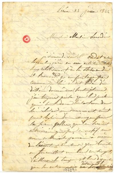 Lettre de François Jouffroy à Antoine Louis Lacordaire, 22 juin 1844; Lettre autographe signée de François Jouffroy, datée du 22 juin 1844, adressée à Antoine Louis Lacordaire, illustrée d'un croquis au crayon au verso