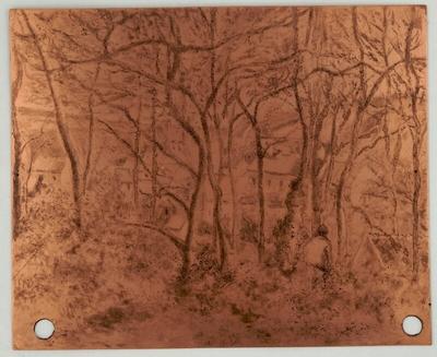 Paysage sous bois, à l'Hermitage (Pontoise) [plaque gravée]