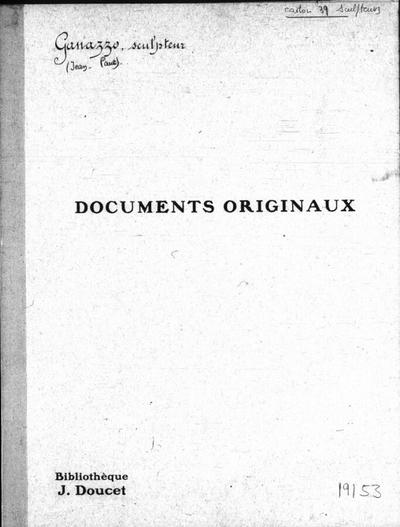 Image from object titled Autographes, Carton 39 : Sculpteurs Gan-Kla