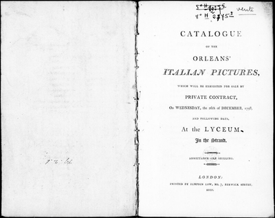 Catalogue of the Orleans' Italian pictures [...] : [vente du 26 décembre 1798]; Catalogue of the Orleans' Italian pictures which will be exhibited for sale by private contract, on Wesdnesday, the 26th of December 1798 and...