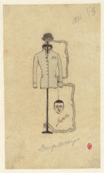 [Portrait de Maurice Du Plessys en forme de Lettrine pour <i>Ballade à la louange d'un pardessus de Marcel Coulon</i>]