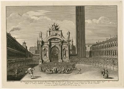 Arc Triomphal érigé dans la grande Place de Saint Marc de Venise le 24 janvier 1782 [...]; Arc Triomphal Erigé dans la grande Place de St Marc de Venise le 24 janvier 1782, à l'occasion de la Venüe de leurs Altesses Imp....