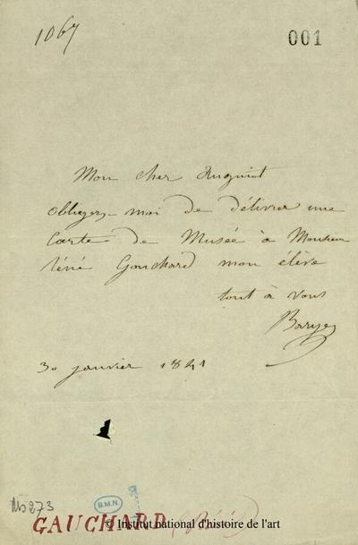 Lettre autographe signée de Barye à [...], 30 janvier 1841