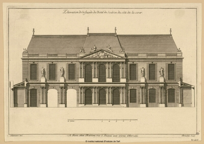 Elévation de la façade de l'Hôtel de Soubise du côté de la cour