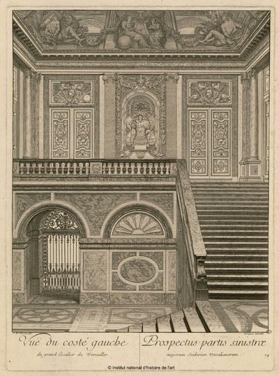 Vuë du costé gauche du grand escalier de Versailles