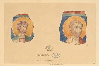 Charlieu [deux visages de Saints]; Charlieu [deux visages de Saints] : [d'après un ouvrage ?]