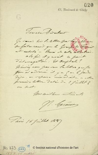 Lettre autographe signée de Gérôme, 16 juillet 1887
