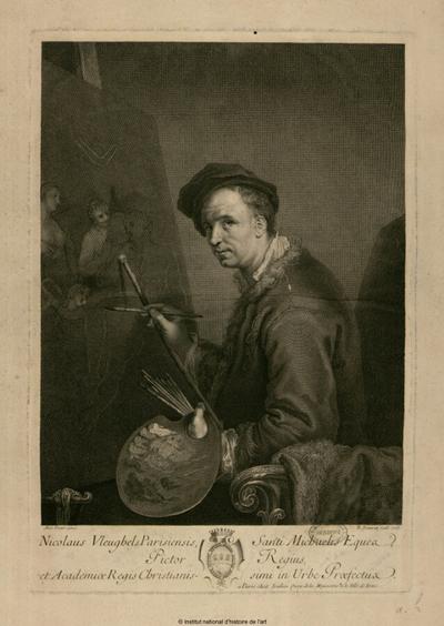 Nicolaus Vleughels Parisiensis, Sancti Michaelis eques, pictor Regius [...]; Nicolaus Vleughels Parisiensis, Sancti Michaelis eques, pictor Regius, et Academiae Regis Christianissimi in urbe praefectus : (portrait)