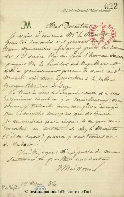 Lettre autographe signée de Meissonier, 18 mai 1884