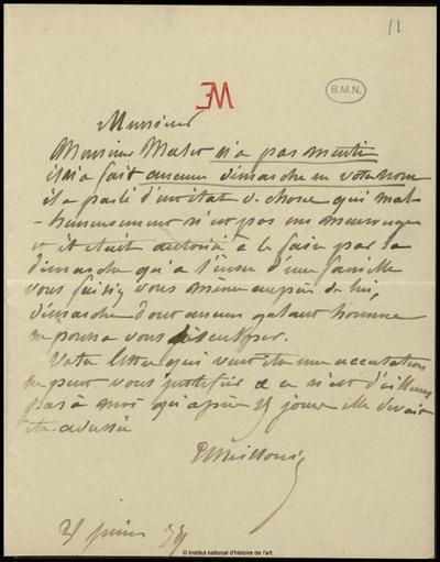 Lettre de Jean-Louis-Ernest Meissonier, 31 juin 1879