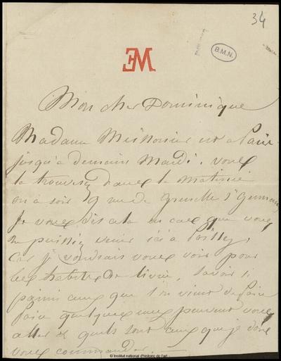 Lettre de Jean-Louis-Ernest Meissonier à Dominique, [s.d.]